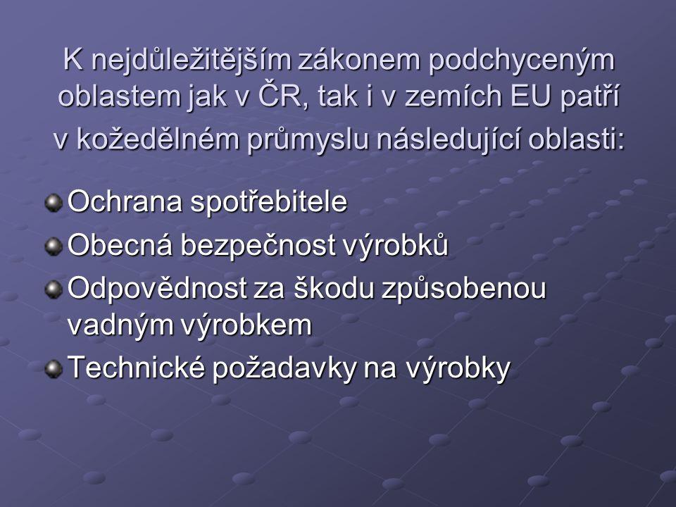 K nejdůležitějším zákonem podchyceným oblastem jak v ČR, tak i v zemích EU patří v kožedělném průmyslu následující oblasti: Ochrana spotřebitele Obecná bezpečnost výrobků Odpovědnost za škodu způsobenou vadným výrobkem Technické požadavky na výrobky
