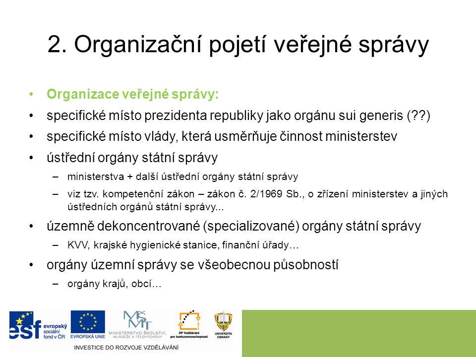 2. Organizační pojetí veřejné správy Organizace veřejné správy: specifické místo prezidenta republiky jako orgánu sui generis (??) specifické místo vl
