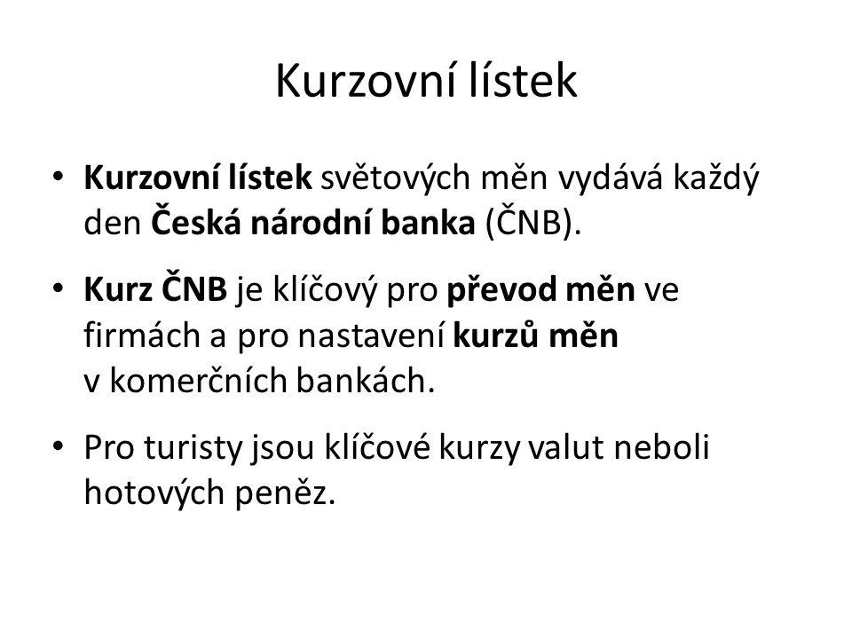 Kurzovní lístek Kurzovní lístek světových měn vydává každý den Česká národní banka (ČNB). Kurz ČNB je klíčový pro převod měn ve firmách a pro nastaven