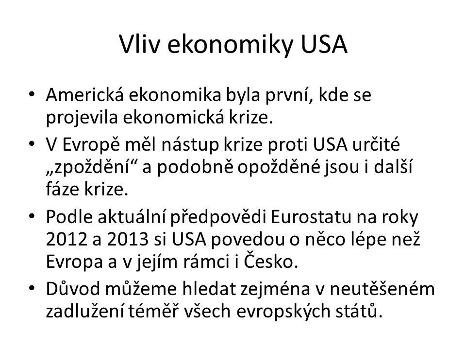 """Vliv ekonomiky USA Americká ekonomika byla první, kde se projevila ekonomická krize. V Evropě měl nástup krize proti USA určité """"zpoždění"""" a podobně o"""