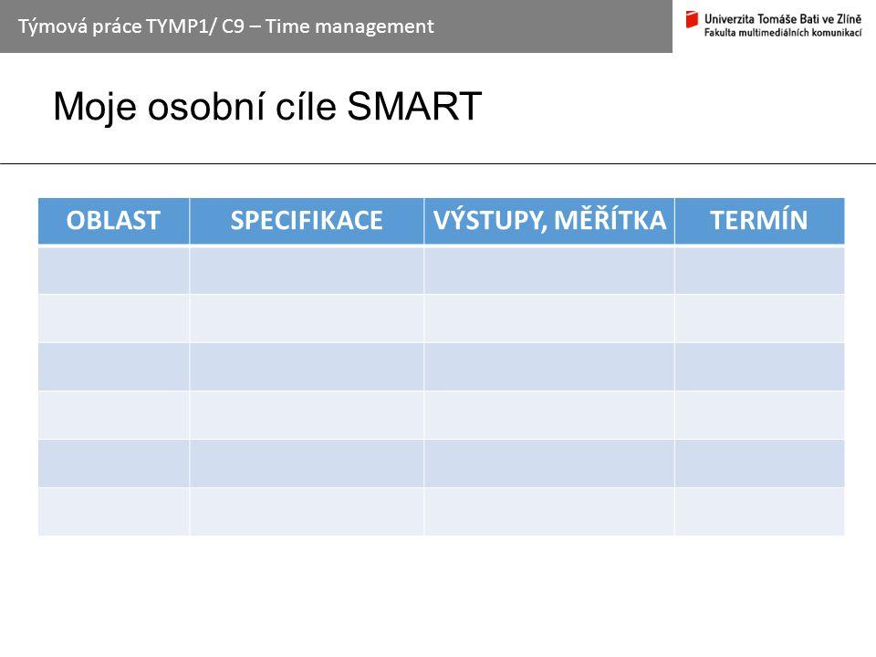 Moje osobní cíle SMART Týmová práce TYMP1/ C9 – Time management OBLASTSPECIFIKACEVÝSTUPY, MĚŘÍTKATERMÍN