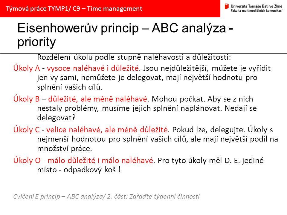 Eisenhowerův princip – ABC analýza - priority Rozdělení úkolů podle stupně naléhavosti a důležitosti: Úkoly A - vysoce naléhavé i důležité. Jsou nejdů