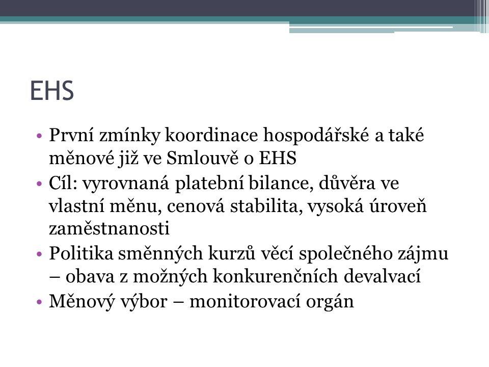 EHS První zmínky koordinace hospodářské a také měnové již ve Smlouvě o EHS Cíl: vyrovnaná platební bilance, důvěra ve vlastní měnu, cenová stabilita, vysoká úroveň zaměstnanosti Politika směnných kurzů věcí společného zájmu – obava z možných konkurenčních devalvací Měnový výbor – monitorovací orgán