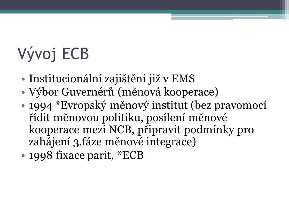 Vývoj ECB Institucionální zajištění již v EMS Výbor Guvernérů (měnová kooperace) 1994 *Evropský měnový institut (bez pravomocí řídit měnovou politiku, posílení měnové kooperace mezi NCB, připravit podmínky pro zahájení 3.fáze měnové integrace) 1998 fixace parit, *ECB