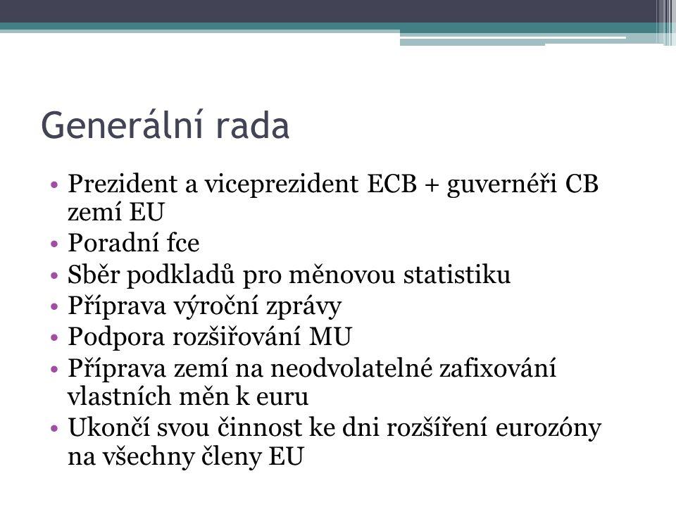 Generální rada Prezident a viceprezident ECB + guvernéři CB zemí EU Poradní fce Sběr podkladů pro měnovou statistiku Příprava výroční zprávy Podpora rozšiřování MU Příprava zemí na neodvolatelné zafixování vlastních měn k euru Ukončí svou činnost ke dni rozšíření eurozóny na všechny členy EU