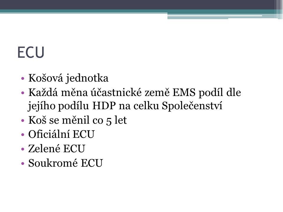 ERM II Spuštěno se vznikem eura Pro země neúčastnící se třetí fáze HMU Systém s vazbou na euro +/- 15% (možnost i užší) ECB negarantuje neomezenou obranu parity Součástí konvergenčních kritérií Dnes: Dánsko (+/-2,25%), Litva, Lotyšsko
