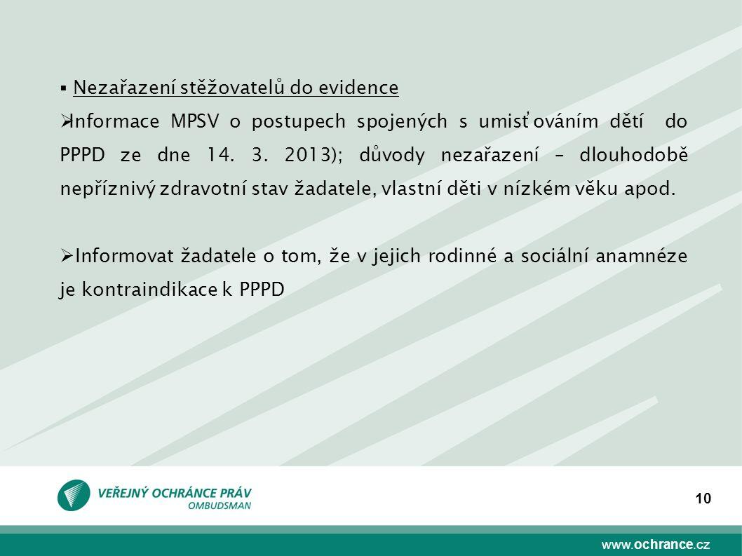 www.ochrance.cz 10  Nezařazení stěžovatelů do evidence  Informace MPSV o postupech spojených s umisťováním dětí do PPPD ze dne 14. 3. 2013); důvody