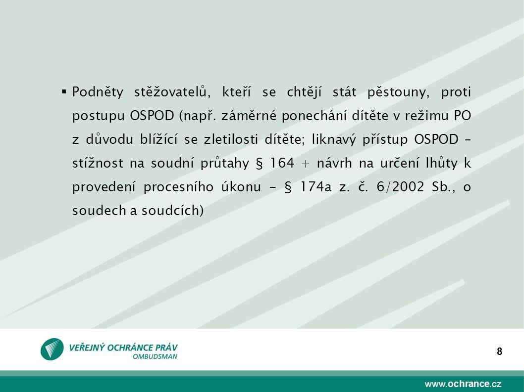 www.ochrance.cz 8  Podněty stěžovatelů, kteří se chtějí stát pěstouny, proti postupu OSPOD (např. záměrné ponechání dítěte v režimu PO z důvodu blíží