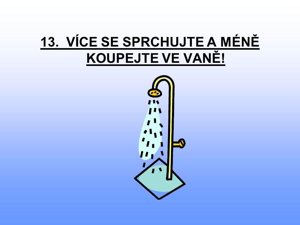 13. VÍCE SE SPRCHUJTE A MÉNĚ KOUPEJTE VE VANĚ!