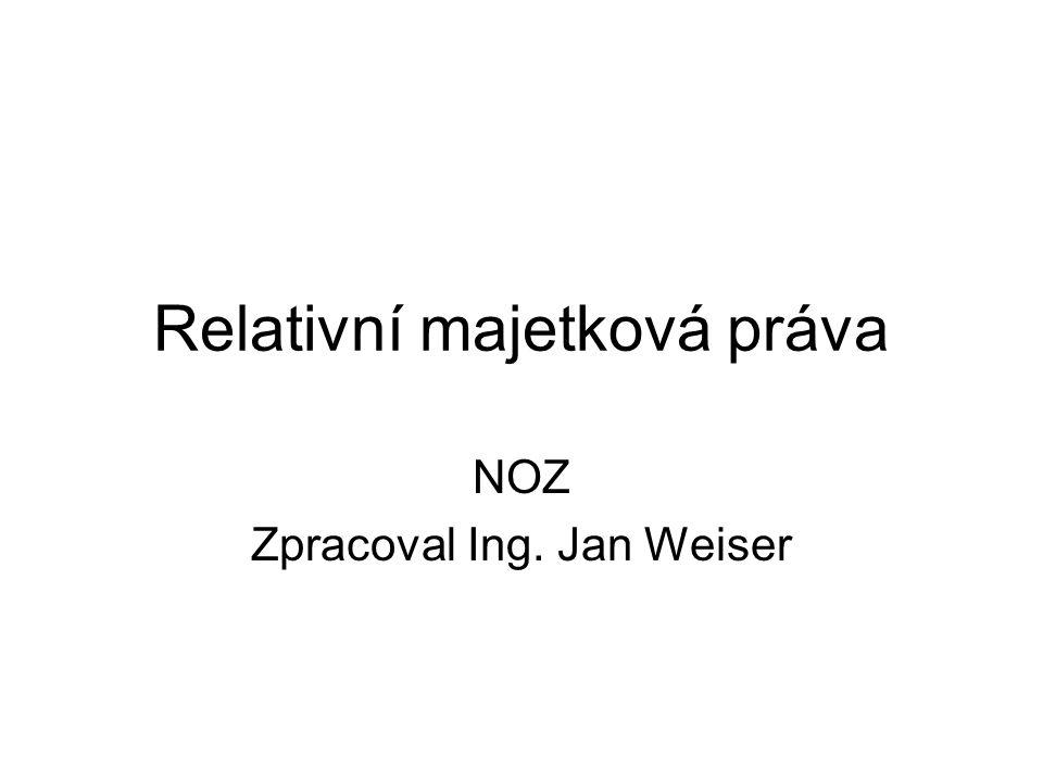 Relativní majetková práva NOZ Zpracoval Ing. Jan Weiser