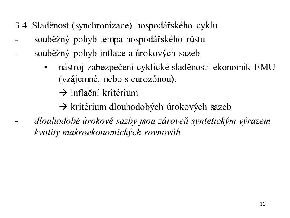 11 3.4. Sladěnost (synchronizace) hospodářského cyklu -souběžný pohyb tempa hospodářského růstu -souběžný pohyb inflace a úrokových sazeb nástroj zabe