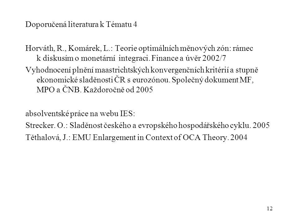 12 Doporučená literatura k Tématu 4 Horváth, R., Komárek, L.: Teorie optimálních měnových zón: rámec k diskusím o monetární integraci. Finance a úvěr