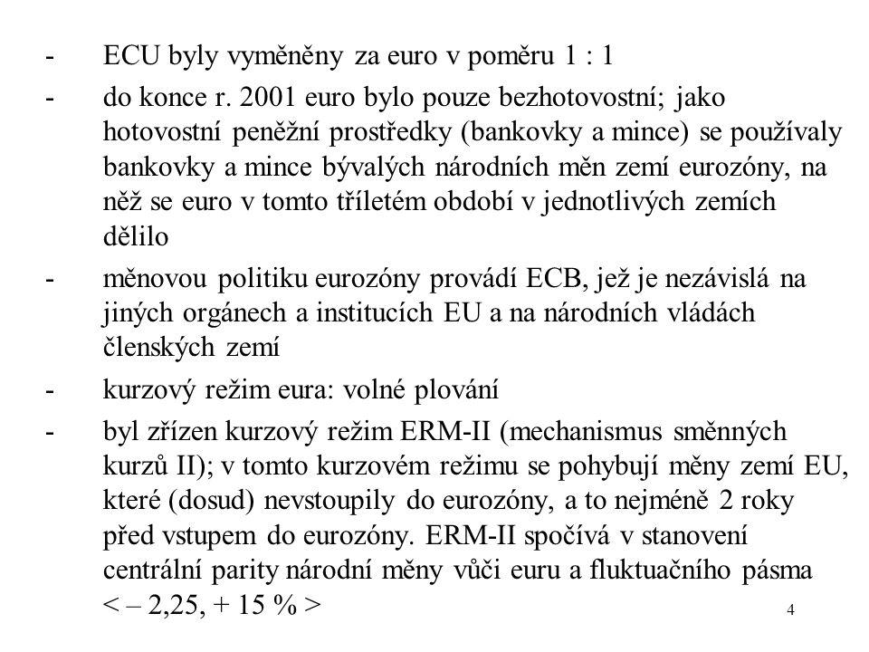 4 -ECU byly vyměněny za euro v poměru 1 : 1 -do konce r. 2001 euro bylo pouze bezhotovostní; jako hotovostní peněžní prostředky (bankovky a mince) se