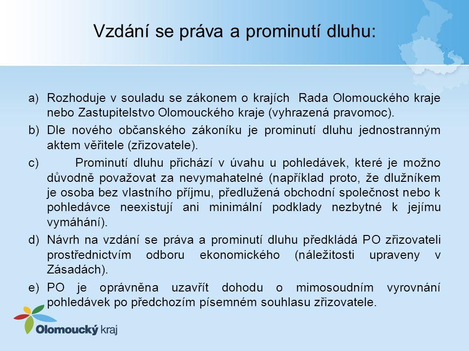 Vzdání se práva a prominutí dluhu: a) Rozhoduje v souladu se zákonem o krajích Rada Olomouckého kraje nebo Zastupitelstvo Olomouckého kraje (vyhrazená pravomoc).