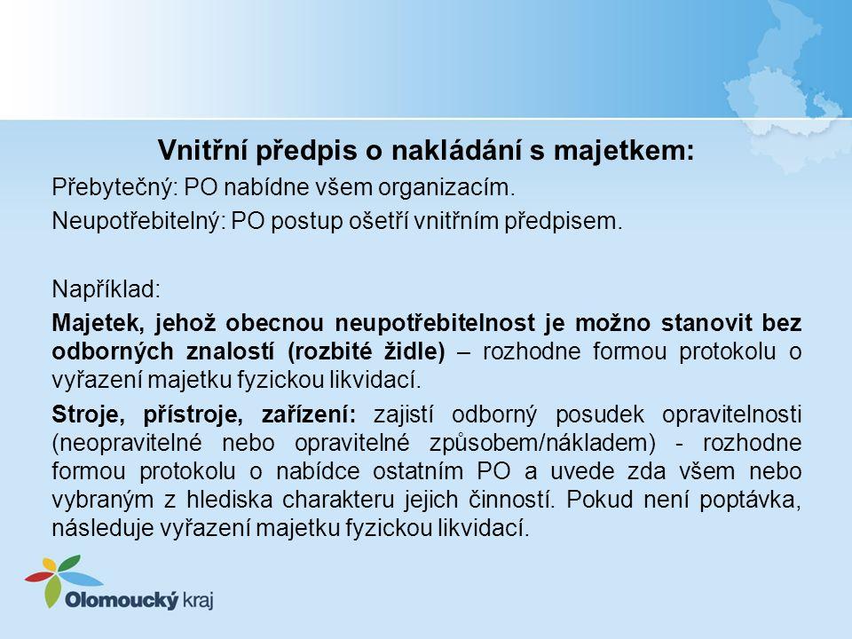 Vnitřní předpis o nakládání s majetkem: Přebytečný: PO nabídne všem organizacím.