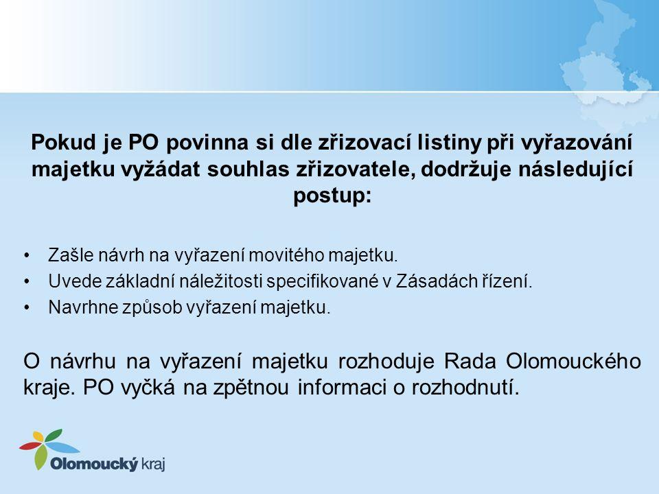 Pokud je PO povinna si dle zřizovací listiny při vyřazování majetku vyžádat souhlas zřizovatele, dodržuje následující postup: Zašle návrh na vyřazení movitého majetku.