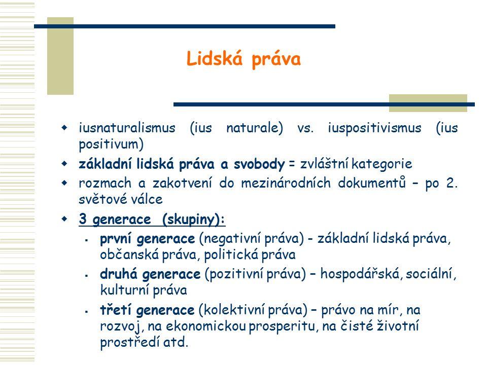 Lidská práva  iusnaturalismus (ius naturale) vs. iuspositivismus (ius positivum)  základní lidská práva a svobody = zvláštní kategorie  rozmach a z