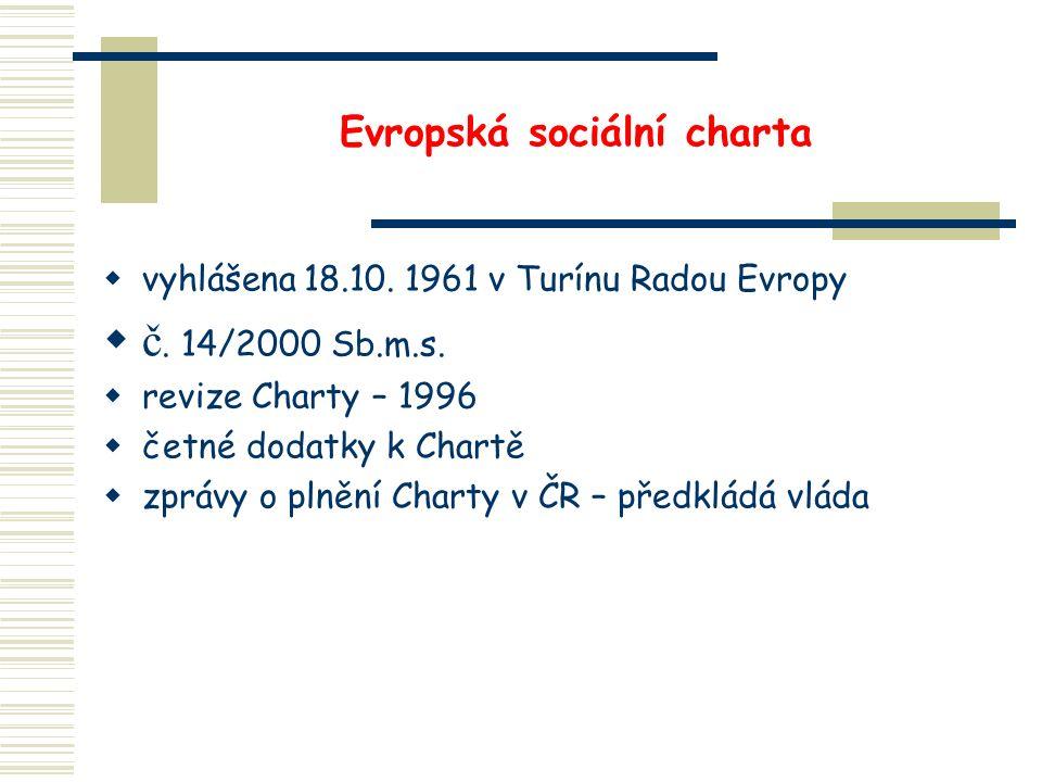 Evropská sociální charta  vyhlášena 18.10. 1961 v Turínu Radou Evropy  č. 14/2000 Sb.m.s.  revize Charty – 1996  četné dodatky k Chartě  zprávy o