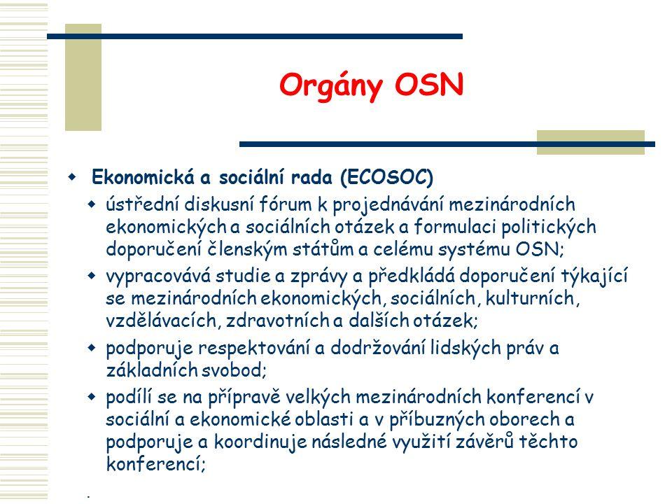 Orgány OSN  Ekonomická a sociální rada (ECOSOC)  ústřední diskusní fórum k projednávání mezinárodních ekonomických a sociálních otázek a formulaci p