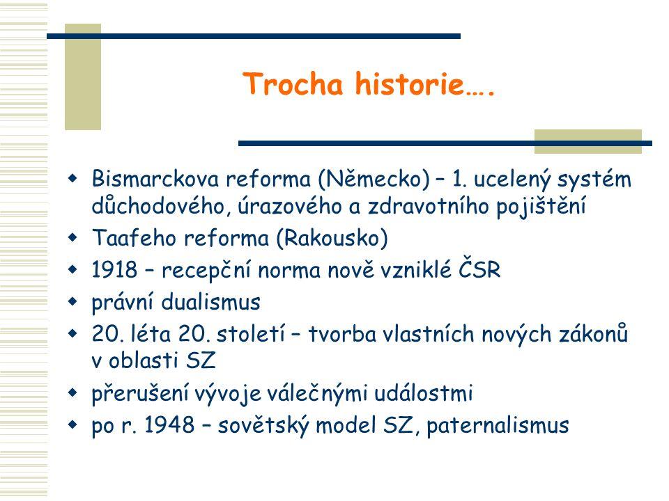 Trocha historie….  Bismarckova reforma (Německo) – 1. ucelený systém důchodového, úrazového a zdravotního pojištění  Taafeho reforma (Rakousko)  19