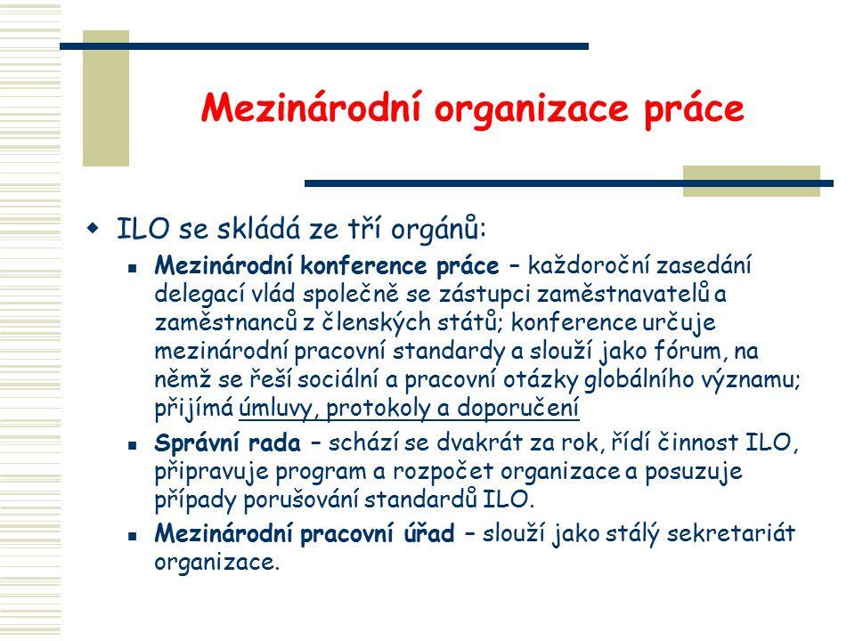 Mezinárodní organizace práce  ILO se skládá ze tří orgánů: Mezinárodní konference práce – každoroční zasedání delegací vlád společně se zástupci zaměstnavatelů a zaměstnanců z členských států; konference určuje mezinárodní pracovní standardy a slouží jako fórum, na němž se řeší sociální a pracovní otázky globálního významu; přijímá úmluvy, protokoly a doporučení Správní rada – schází se dvakrát za rok, řídí činnost ILO, připravuje program a rozpočet organizace a posuzuje případy porušování standardů ILO.