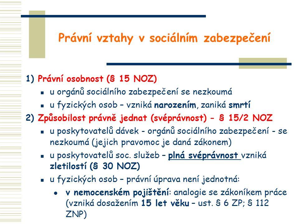 Právní vztahy v sociálním zabezpečení 1) Právní osobnost (§ 15 NOZ) u orgánů sociálního zabezpečení se nezkoumá u fyzických osob – vzniká narozením, zaniká smrtí 2) Způsobilost právně jednat (svéprávnost) - § 15/2 NOZ u poskytovatelů dávek - orgánů sociálního zabezpečení - se nezkoumá (jejich pravomoc je daná zákonem) u poskytovatelů soc.