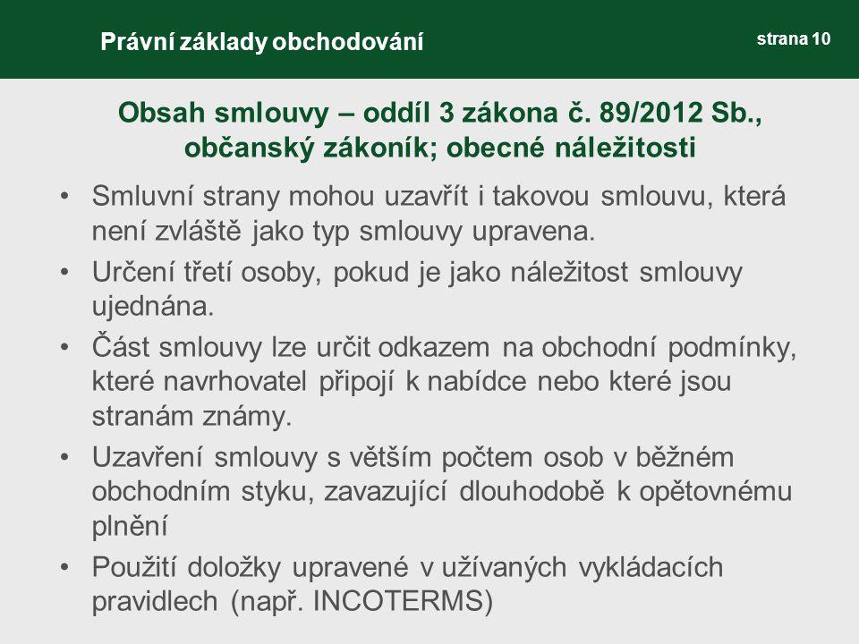 Obsah smlouvy – oddíl 3 zákona č.