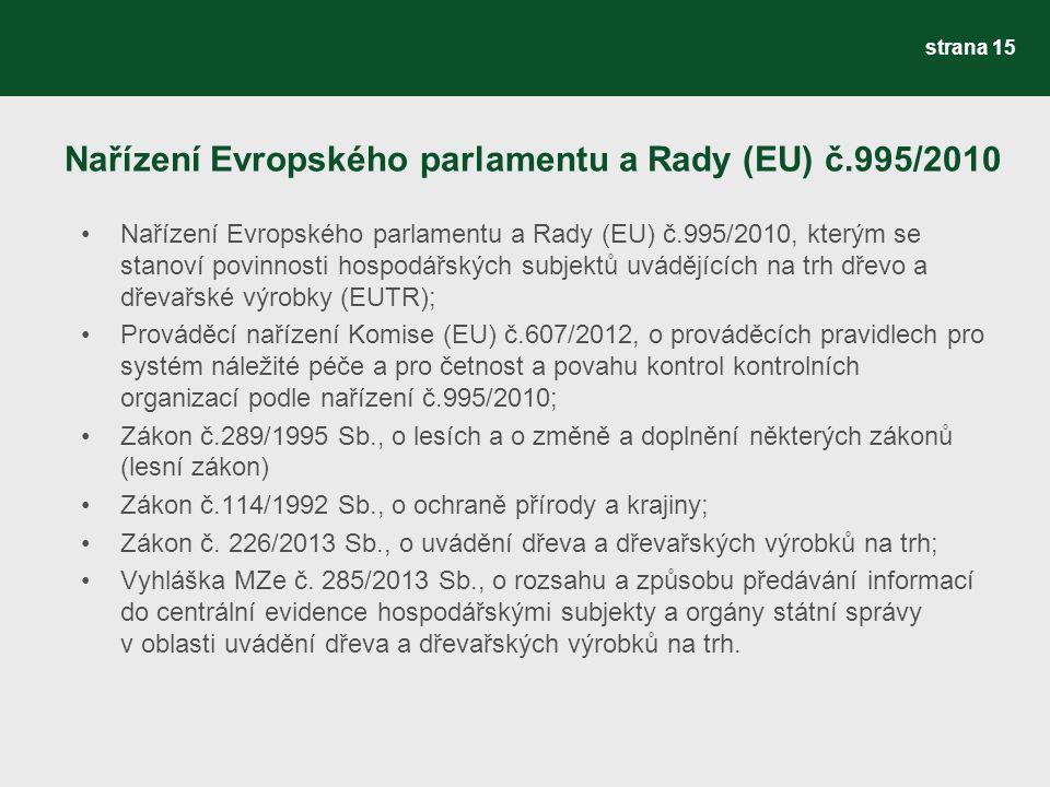 Nařízení Evropského parlamentu a Rady (EU) č.995/2010 Nařízení Evropského parlamentu a Rady (EU) č.995/2010, kterým se stanoví povinnosti hospodářských subjektů uvádějících na trh dřevo a dřevařské výrobky (EUTR); Prováděcí nařízení Komise (EU) č.607/2012, o prováděcích pravidlech pro systém náležité péče a pro četnost a povahu kontrol kontrolních organizací podle nařízení č.995/2010; Zákon č.289/1995 Sb., o lesích a o změně a doplnění některých zákonů (lesní zákon) Zákon č.114/1992 Sb., o ochraně přírody a krajiny; Zákon č.