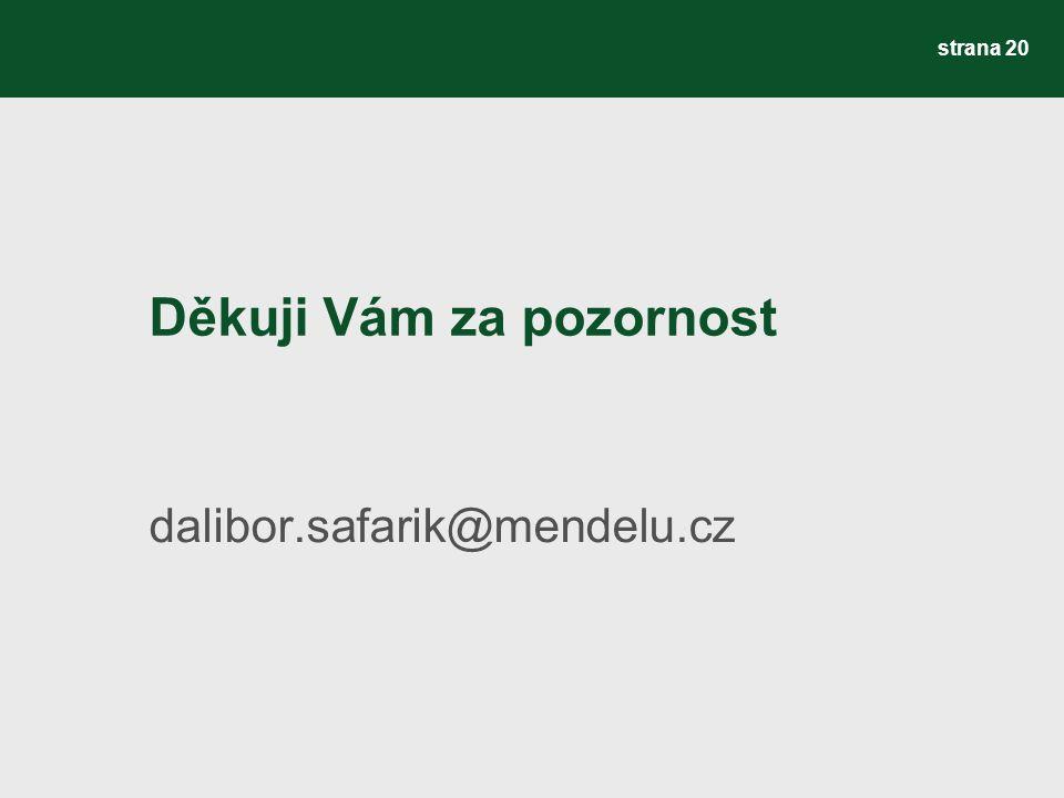 Děkuji Vám za pozornost dalibor.safarik@mendelu.cz strana 20