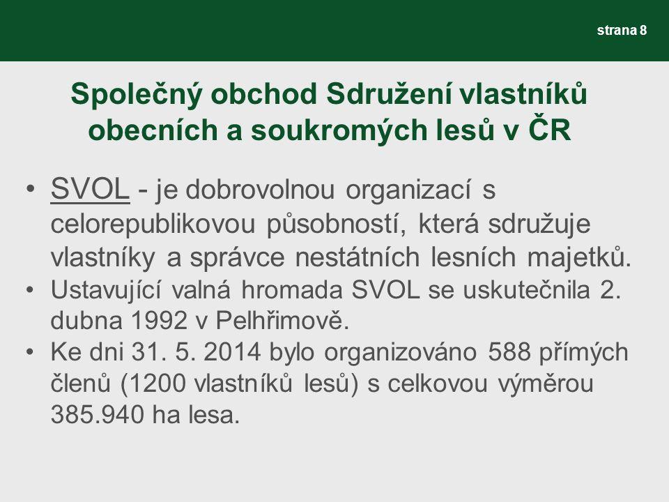 Společný obchod Sdružení vlastníků obecních a soukromých lesů v ČR SVOL - je dobrovolnou organizací s celorepublikovou působností, která sdružuje vlastníky a správce nestátních lesních majetků.