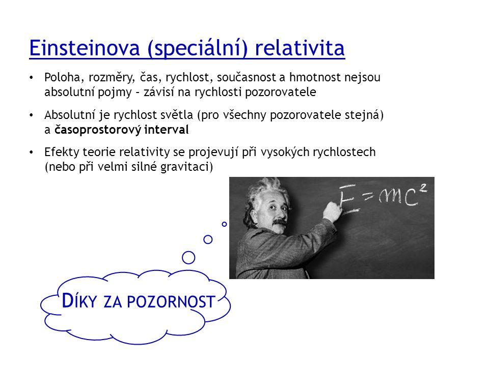 D ÍKY ZA POZORNOST Einsteinova (speciální) relativita Poloha, rozměry, čas, rychlost, současnost a hmotnost nejsou absolutní pojmy – závisí na rychlosti pozorovatele Absolutní je rychlost světla (pro všechny pozorovatele stejná) a časoprostorový interval Efekty teorie relativity se projevují při vysokých rychlostech (nebo při velmi silné gravitaci)