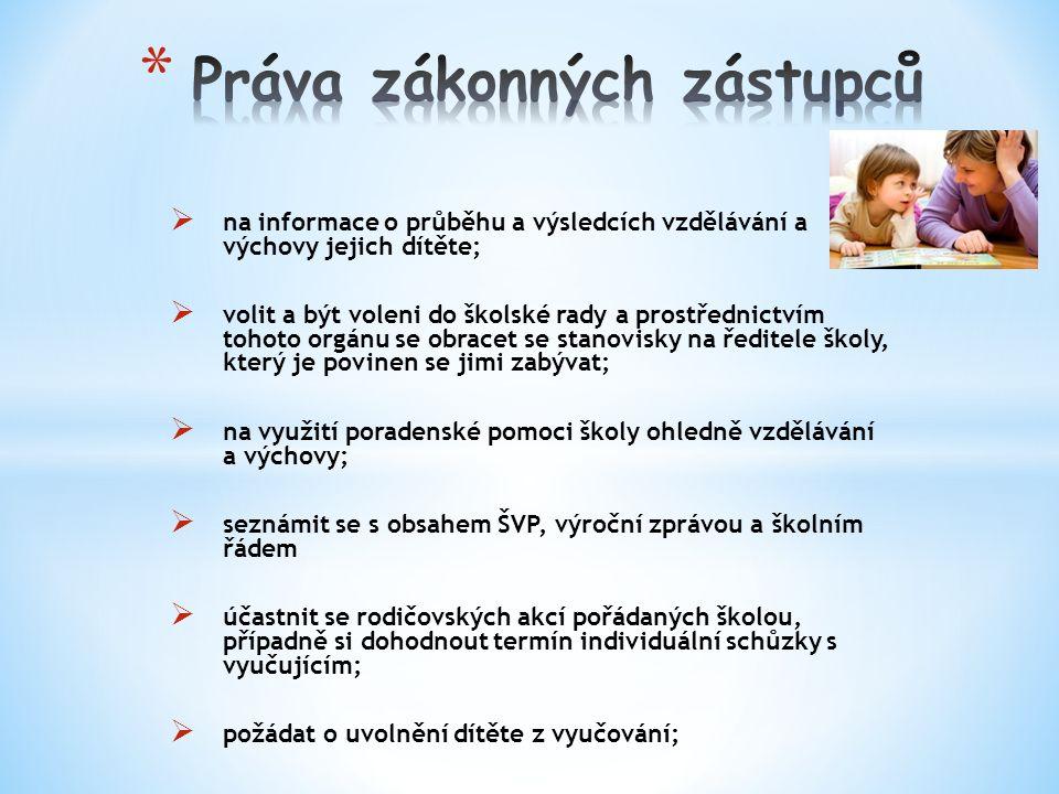  na informace o průběhu a výsledcích vzdělávání a výchovy jejich dítěte;  volit a být voleni do školské rady a prostřednictvím tohoto orgánu se obracet se stanovisky na ředitele školy, který je povinen se jimi zabývat;  na využití poradenské pomoci školy ohledně vzdělávání a výchovy;  seznámit se s obsahem ŠVP, výroční zprávou a školním řádem  účastnit se rodičovských akcí pořádaných školou, případně si dohodnout termín individuální schůzky s vyučujícím;  požádat o uvolnění dítěte z vyučování;