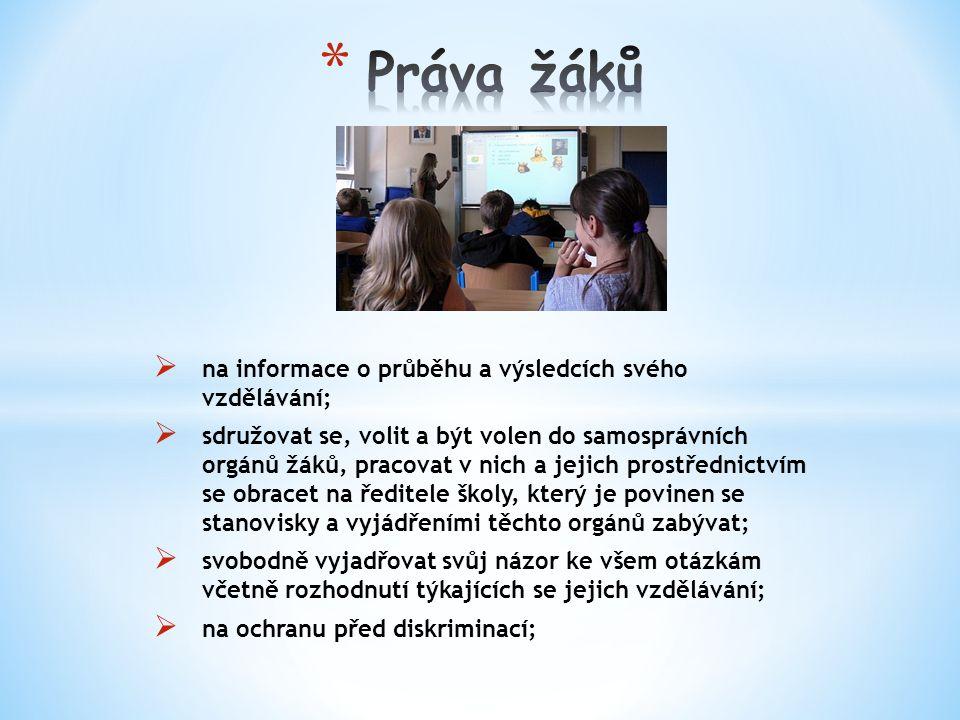  na informace o průběhu a výsledcích svého vzdělávání;  sdružovat se, volit a být volen do samosprávních orgánů žáků, pracovat v nich a jejich prostřednictvím se obracet na ředitele školy, který je povinen se stanovisky a vyjádřeními těchto orgánů zabývat;  svobodně vyjadřovat svůj názor ke všem otázkám včetně rozhodnutí týkajících se jejich vzdělávání;  na ochranu před diskriminací;