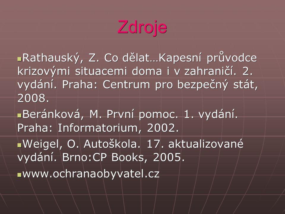 Zdroje Rathauský, Z. Co dělat…Kapesní průvodce krizovými situacemi doma i v zahraničí.