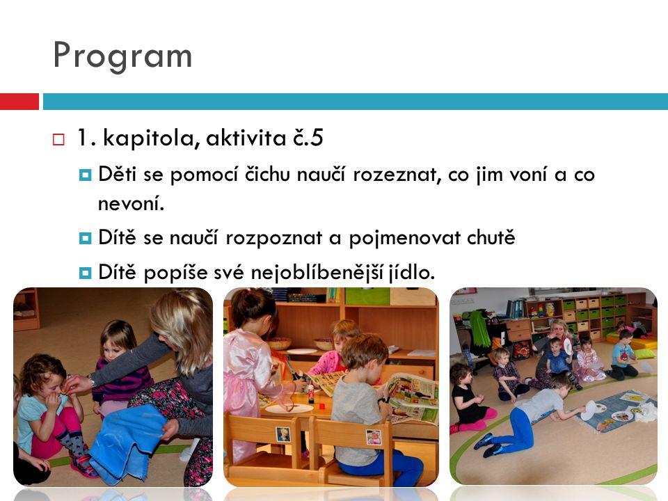 Program  1. kapitola, aktivita č.5  Děti se pomocí čichu naučí rozeznat, co jim voní a co nevoní.
