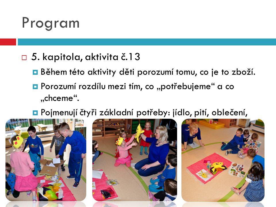 Program  5. kapitola, aktivita č.13  Během této aktivity děti porozumí tomu, co je to zboží.