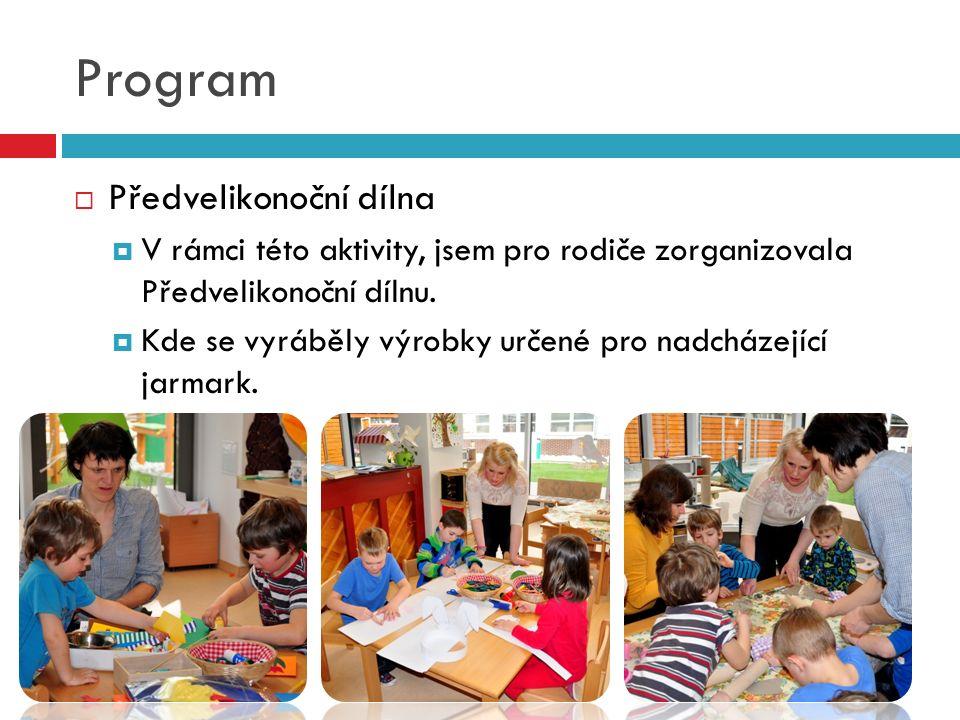 Program  Předvelikonoční dílna  V rámci této aktivity, jsem pro rodiče zorganizovala Předvelikonoční dílnu.