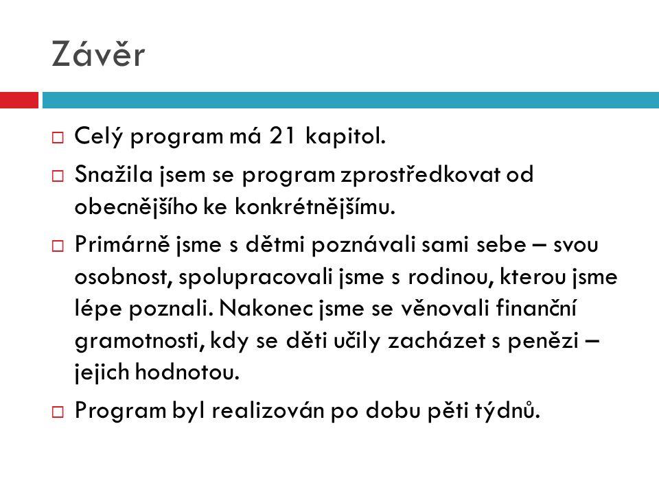 Závěr  Celý program má 21 kapitol.