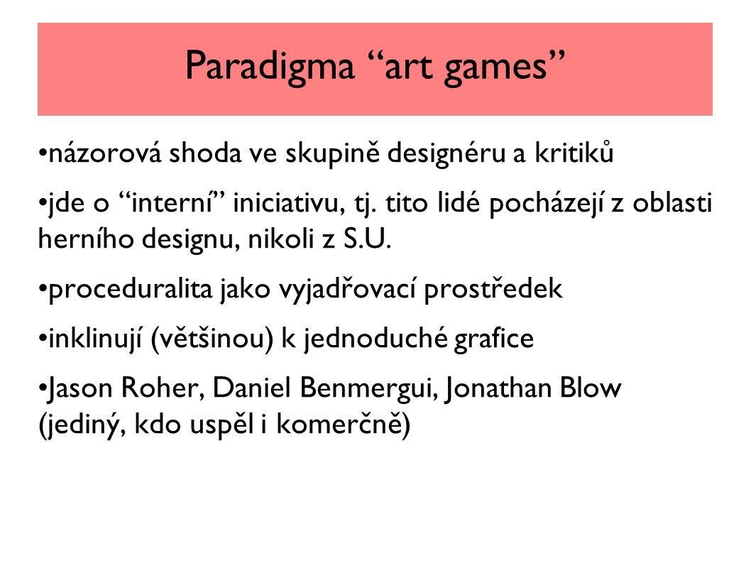 Paradigma art games názorová shoda ve skupině designéru a kritiků jde o interní iniciativu, tj.