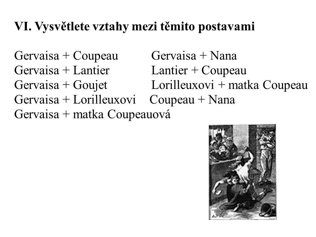 VI. Vysvětlete vztahy mezi těmito postavami Gervaisa + Coupeau Gervaisa + Nana Gervaisa + Lantier Lantier + Coupeau Gervaisa + Goujet Lorilleuxovi + m