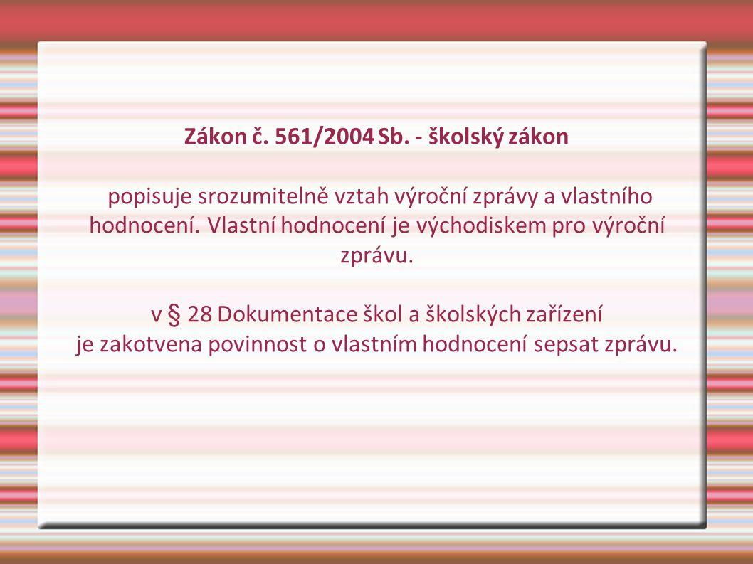 Zákon č. 561/2004 Sb. - školský zákon popisuje srozumitelně vztah výroční zprávy a vlastního hodnocení. Vlastní hodnocení je východiskem pro výroční z