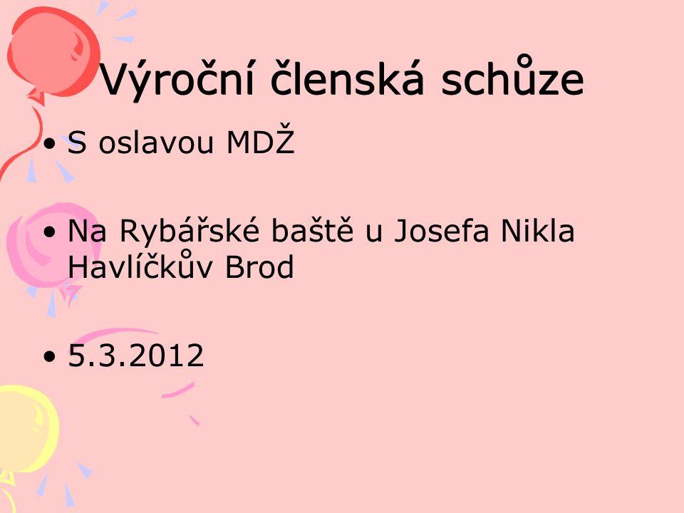 Výroční členská schůze S oslavou MDŽ Na Rybářské baště u Josefa Nikla Havlíčkův Brod 5.3.2012