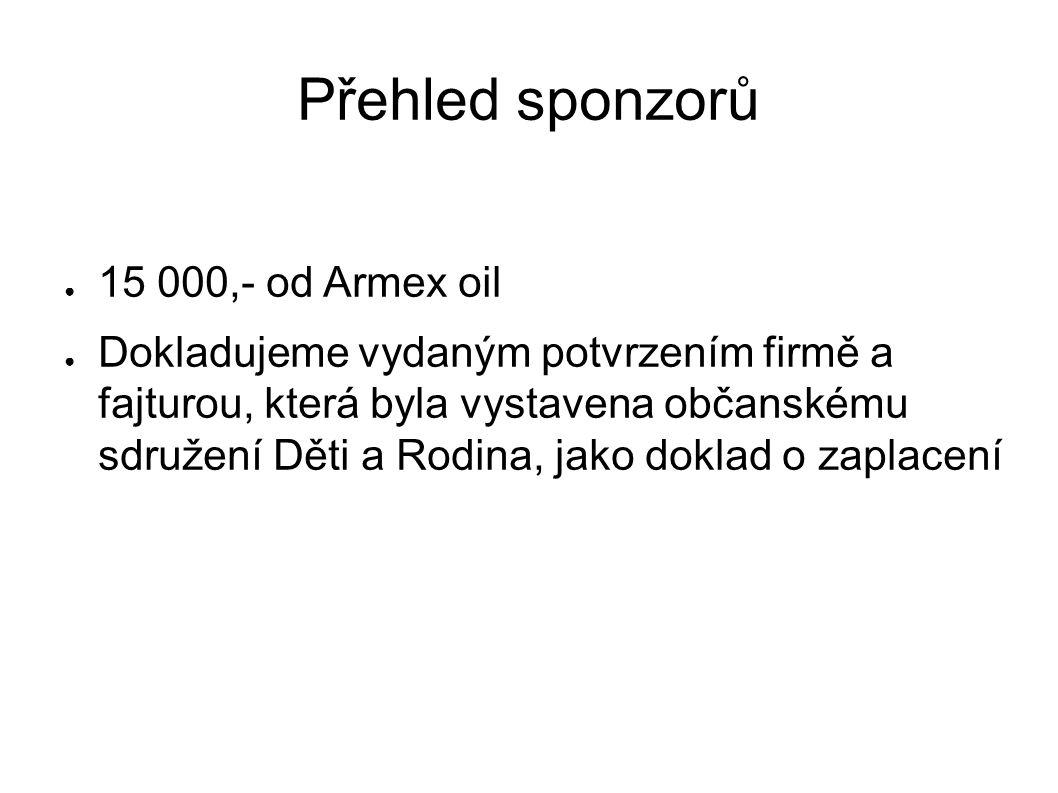 Přehled sponzorů ● 15 000,- od Armex oil ● Dokladujeme vydaným potvrzením firmě a fajturou, která byla vystavena občanskému sdružení Děti a Rodina, jako doklad o zaplacení