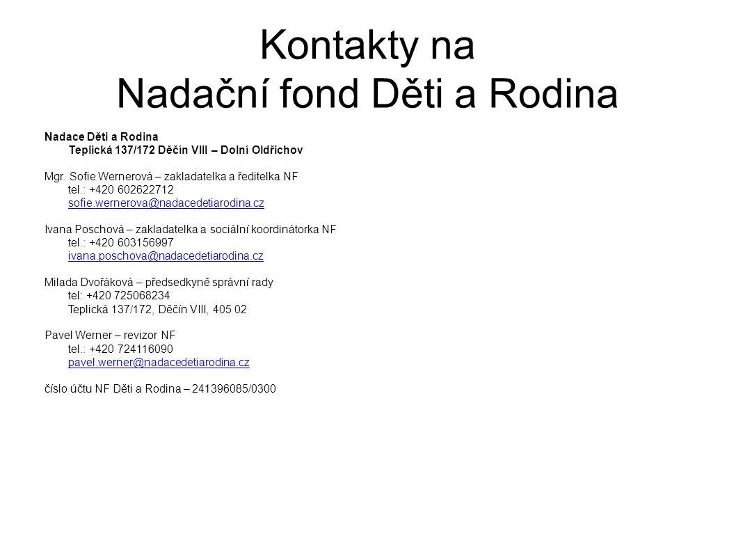 Kontakty na Nadační fond Děti a Rodina Nadace Děti a Rodina Teplická 137/172 Děčín VIII – Dolní Oldřichov Mgr.