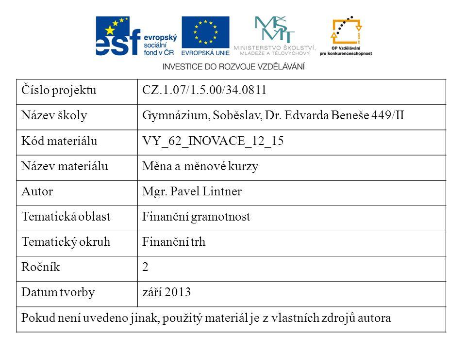 Číslo projektuCZ.1.07/1.5.00/34.0811 Název školyGymnázium, Soběslav, Dr. Edvarda Beneše 449/II Kód materiáluVY_62_INOVACE_12_15 Název materiáluMěna a