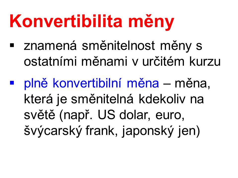 Konvertibilita měny  znamená směnitelnost měny s ostatními měnami v určitém kurzu  plně konvertibilní měna – měna, která je směnitelná kdekoliv na s