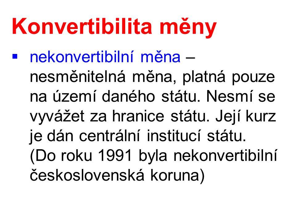 Konvertibilita měny  vnitřní konvertibilita – domácí subjekty mohou doma za vlastní měnu nakupovat zahraniční měnu, ale v zahraničí se měna nepřijímá  vnější konvertibilita – zahraniční subjekty mohou volně disponovat domácí měnou