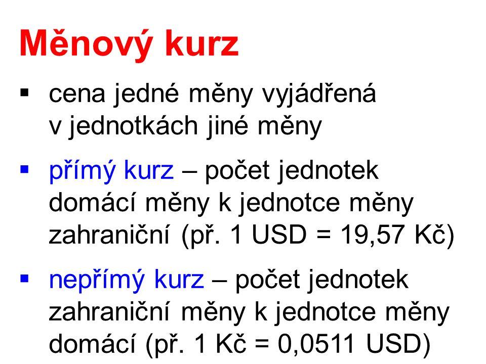 Měnový kurz  cena jedné měny vyjádřená v jednotkách jiné měny  přímý kurz – počet jednotek domácí měny k jednotce měny zahraniční (př. 1 USD = 19,57