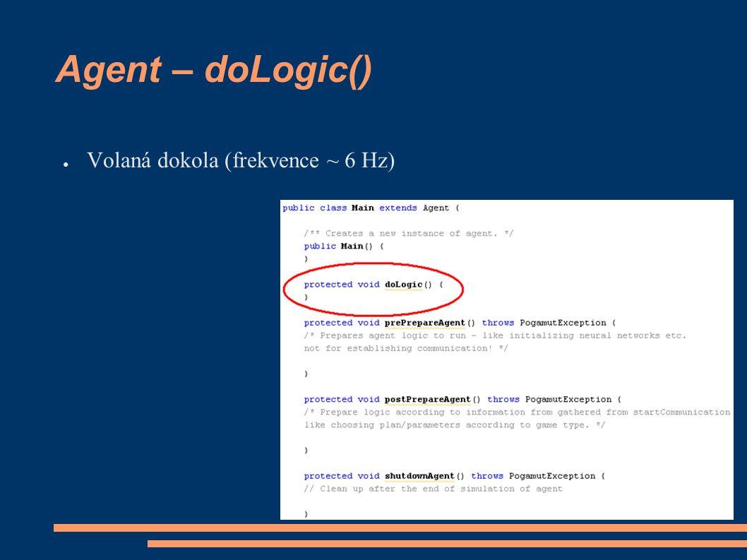 Agent – doLogic() ● Volaná dokola (frekvence ~ 6 Hz)