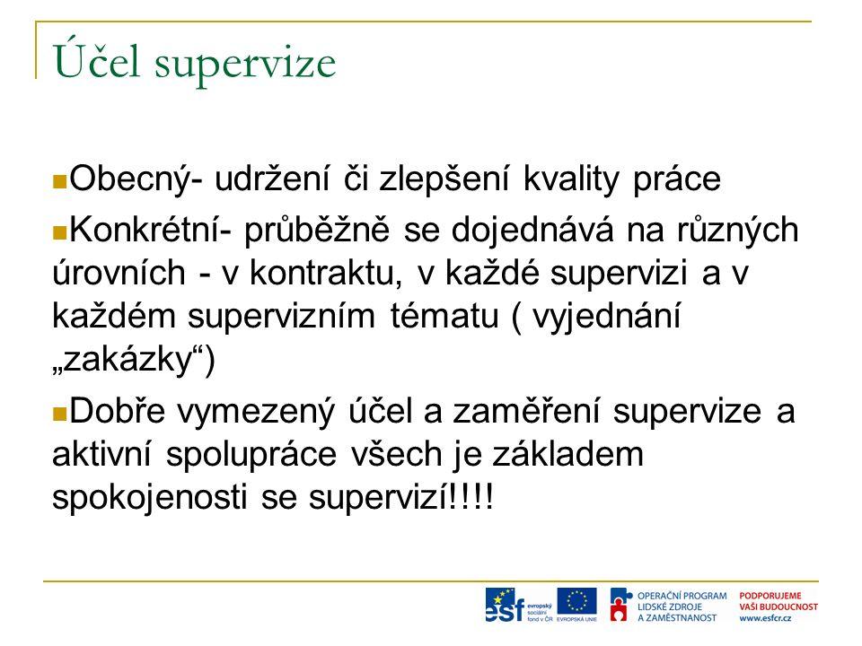 """Účel supervize Obecný- udržení či zlepšení kvality práce Konkrétní- průběžně se dojednává na různých úrovních - v kontraktu, v každé supervizi a v každém supervizním tématu ( vyjednání """"zakázky ) Dobře vymezený účel a zaměření supervize a aktivní spolupráce všech je základem spokojenosti se supervizí!!!!"""